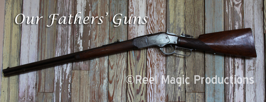 "Winchester model 1873 Repeating rifle -- ""The Rifle that won the West"" This one was used both in the Indian Wars and for home protection and providing the owner's family with fresh meat. This rifle last saw usage during deer season 2012. The background is leftover wainscoting board from the old family farm built in the early 1800's outside Chesterfield. MO. One of the first ""assault rifles,"" it was a hangin' offense to sell or trade these to the Indians."